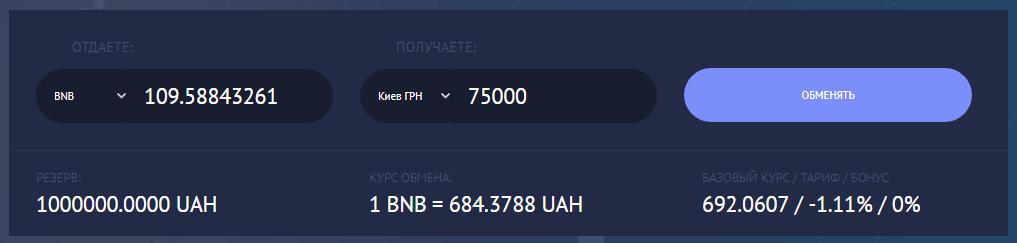 BNB на наличные в Киеве