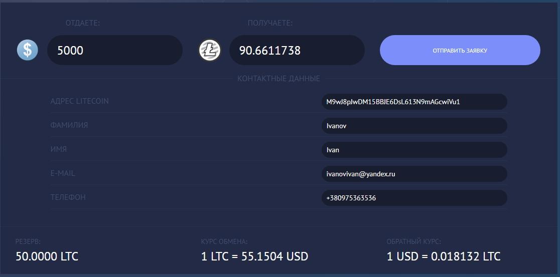 Наличные в Харькове на Litecoin (LTC)