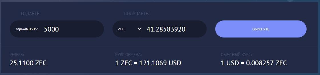 Наличные в Харькове на Zcash (ZEC)