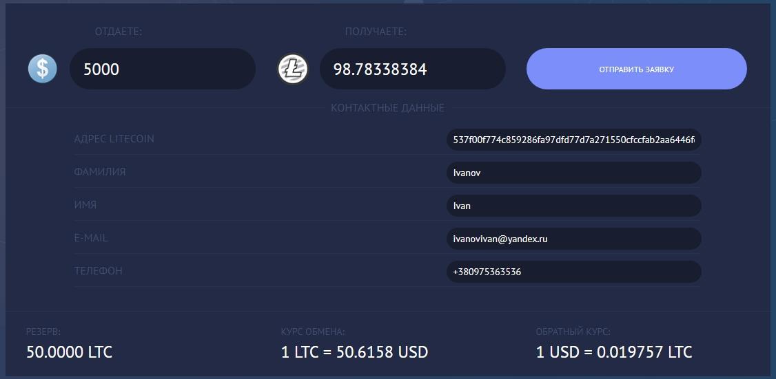 Наличные в Киеве на Litecoin (LTC)